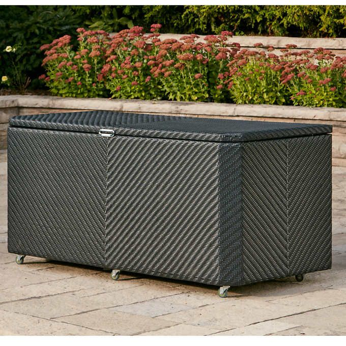 Features:  Wicker colour: black  Capacity: 1133 L (299 U.S. gallons), 40 cu. ft.  Aluminium frame will not rust  Synthetic all-weather, easy-to-clean wicker (clean using mild liquid soap and water)  Wicker will not fade, rot, or mildew  Stainless-steel hardware  Air-lift hinges to help keep box open  Casters for easy movement  Can withstand snow but is not water tight    Dimensions (L x W x H) and Weights:  177.8 cm x 76.2 cm x 81.3 cm (70 in. x 30 in. x 32 in.), 49.7 kg (109.5 lb.)