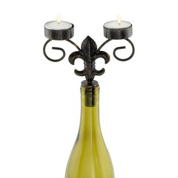 Fleur de Lis Wine Bottle Candelabra - perfect for a vineyard, castle, French or New Orleans-themed wedding. - Wine Country Occasions, www.winecountryoccasions.com