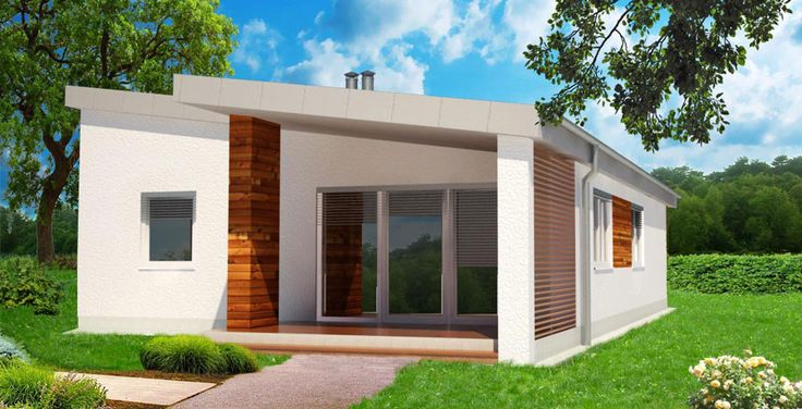 3D pohlad bungalov moderny z dvora / modern bungalow / little house
