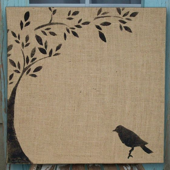Since I have tons of burlap and a lot of stretcher bars... maybe C could paint something simple on each one?