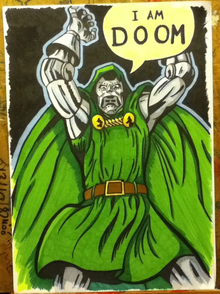 A3 size dr doom using pro markers and a brush pen