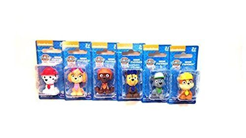 """Paw Patrol Figure Set 6 Piece. Nickelodeon's Paw Patrol mini figurines/ cake toppers. Includes one 1.5"""" figurine of each character. Excellent for birthdays. These small figures are perfect for little hands to hold and pretend play or even trade them. Set of 6 include one each of Skye, Rocky, Chase, Marshall, Rubble and Zuma."""