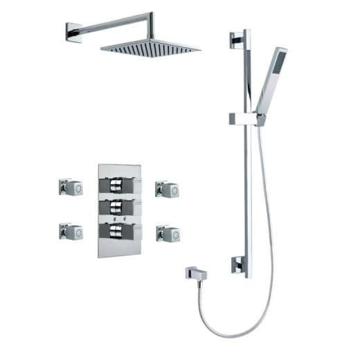 Nameeks US-4745K Ramon Soler Shower Package with Shower Head, Shower Arm, Handshower with Hose, Slide Bar, 4 Bodysprays, and, Silver stainless steel