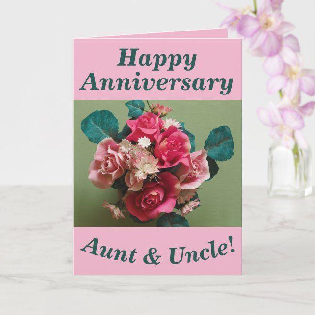 Flower Bouquet Anniversary Card For Aunt Uncle Zazzle Com Anniversary Cards Simple Cards Flowers Bouquet