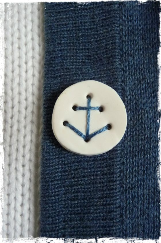 A charming DIY: make your own buttons from polymer clay that can be stitched in place with an anchor.