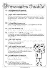 Persuasive Checklist for upper primary to make sure they've covered all the finer points while planning and writing their persuasive text.