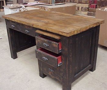 Love the tri-coloring of this rustic desk
