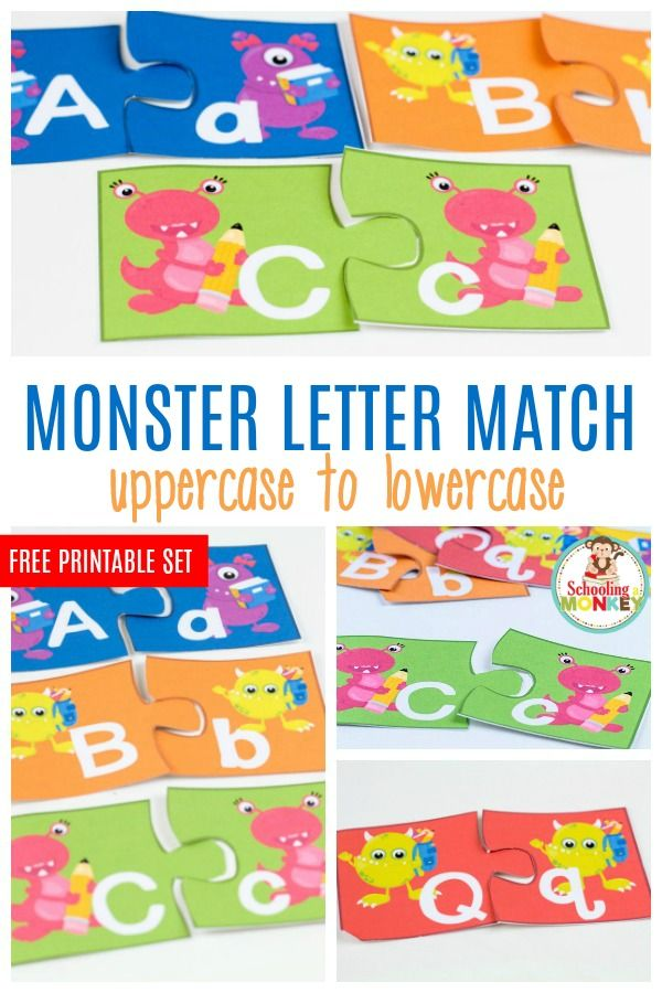 If you love monsters, you'll adore these fun and colorful monster letter match puzzles helping kids match uppercase and lowercase letters.