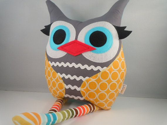 Handmade Large  Owl Pillow Plush Stuffed Toy Circles in Marigold Christmas toy gift
