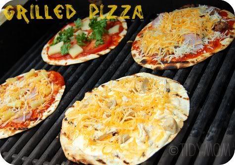 PP SAYS:  G2RILLED TORTILLA PIZZA.  This is a favorite to pack!  We always carry tortillas to use for snacks, sandwiches, breakfast... Anything.   Since camping doesn't have a timetable, these make a quick snack for the kids mid-day.  We grill these over the campfire on our tripod grill.    Use your imagination!!  (I have even made these on the grill and in the oven.)