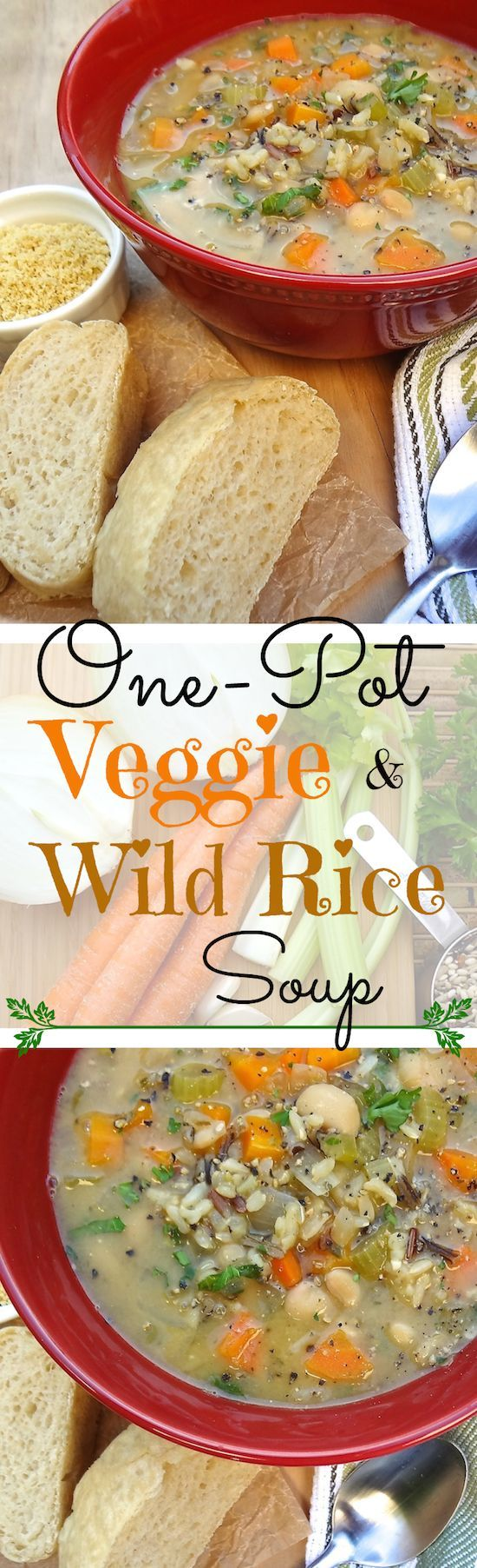 Hearty and delicious  One-Pot Veggie and Wild Rice Soup –– perfect for those cold winter days. It only takes one pot  a few simple ingredients and about 30 minutes to cook. Vegan and Gluten-Free!