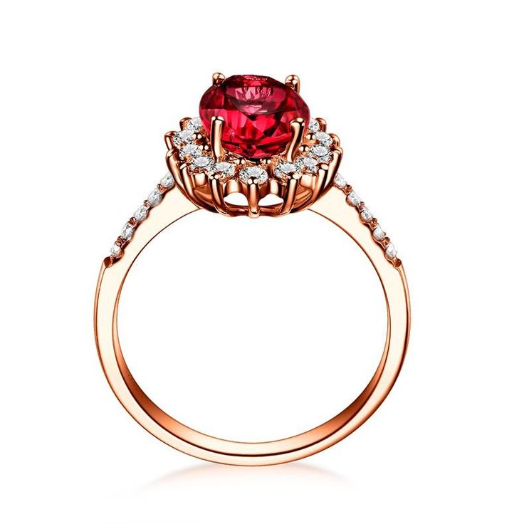 Real Natural 1.0 CT Certified Ruby or Sapphire with 0.26 CT Real Diamond in 18K Rose Gold (Au750) Ruby Ring W05349