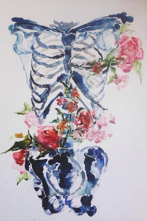 Floral Skeleton  - Watercolor Art Print on Etsy, $10.00