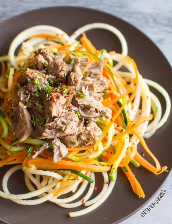 Asian Slow Cooker Pork with Zucchini Carrot and Apple Noodles