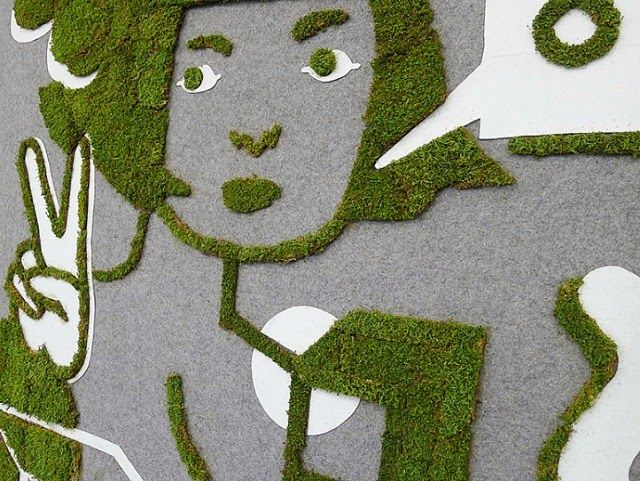 Moss Graffiti Art Installation by Jennifer Ilett and Sprout Guerrilla