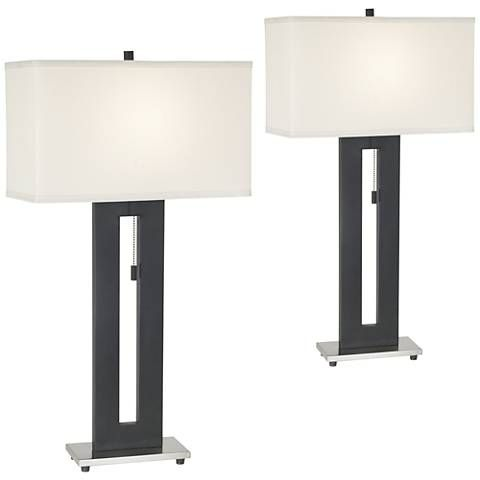 Right Angle Black Table Lamp Set of 2 - #33004-33004   Lamps Plus