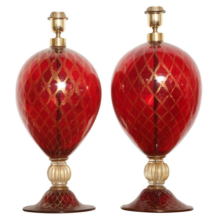 Pair of Red and Gold Murano Lamps | 1stdibs.com