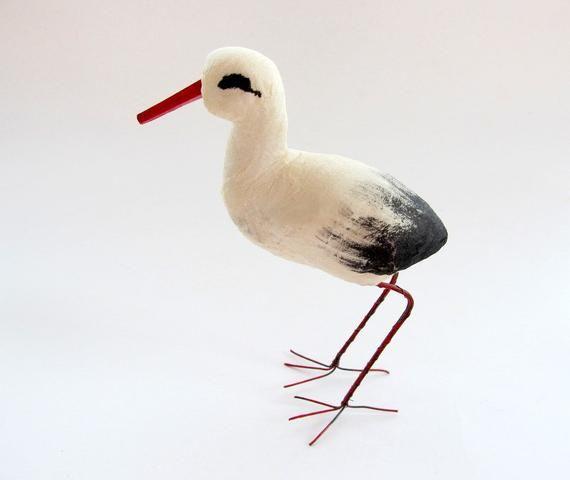 """Vintage Spun Cotton Stork 3/"""" x 1/"""" White with Black Tail Feathers"""