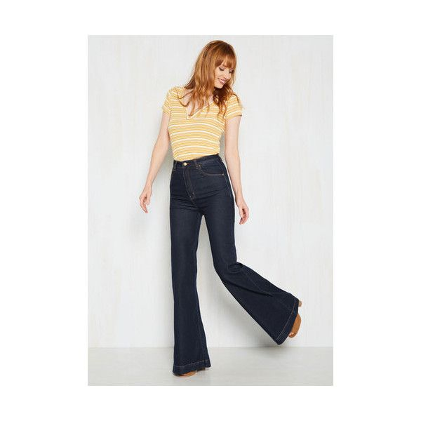 Rolla's Vintage Inspired High Waist, Flare Melbourne to be Free Jeans ($100) ❤ liked on Polyvore featuring jeans, apparel, blue, bottoms, denim pant, flare denim pant, high-rise flared jeans, dark-wash jeans, flared jeans and flare jeans