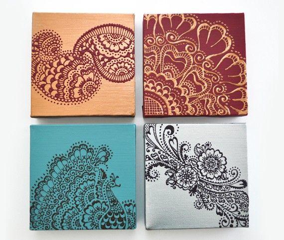 Verkauf Henna Mehndi Stil Paisleys Original von LiaDiaDesigns