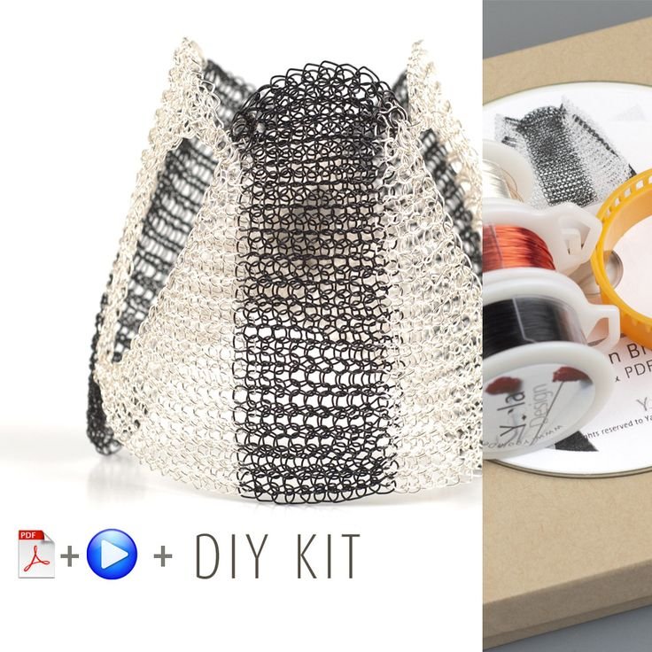 A contemporary wire jewelry kit in Yoola's invisible spool knitting method. with the kit you will learn how to wire crochet an impressive black and white Shogun cuff bracelet. Each design has its own