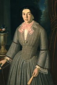 Pige  Francesco (1822 - 1862) Προσωπογραφία κυρίας Γ. Βούλγαρη, c. 1860. Λάδι σε μουσαμά.  Συλλογή Εθνικής Πινακοθήκης. Pige Francesco (1822 - 1862) Portrait of Mrs G. Voulgaris, c.1860. Oil on canvas. National Gallery collection