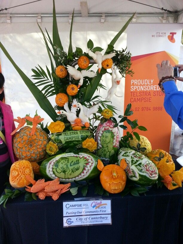 Competitions at the food festival...fruit and vege carving...