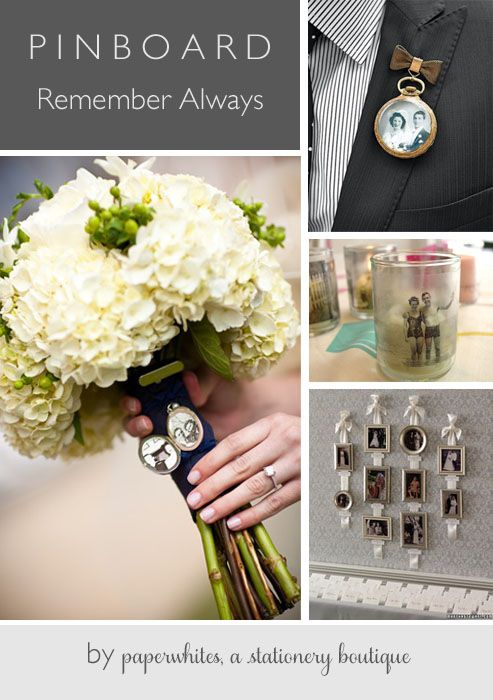 A great collection of ideas for remembering generations past. Memorials for mothers, fathers and grandparents always have a place in your wedding.  Photo lockets, a cool photo boutonniere, a great DIY and a pretty framed collection of pictures on the wall