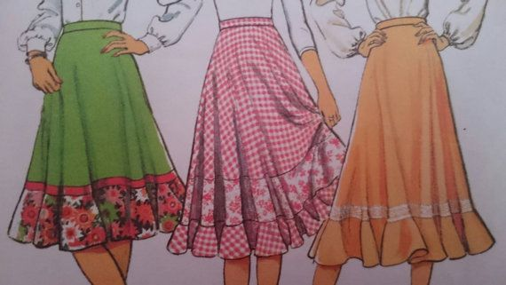 Seventies Skirt Sewing Pattern for 26.5 inch waist