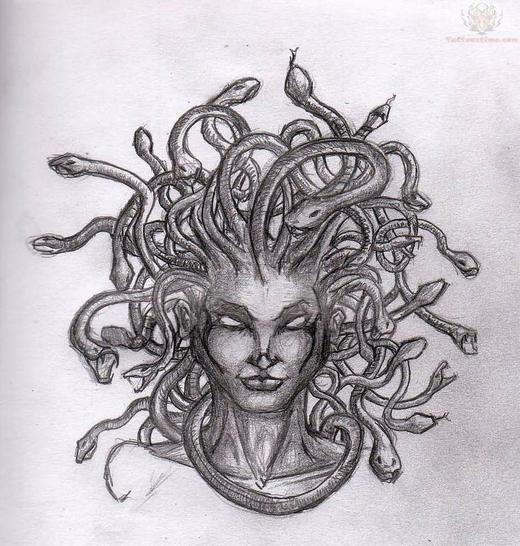 Awesome Medusa Face Tattoo Design Sample