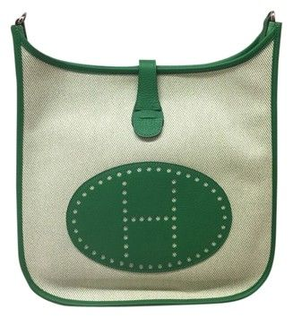 Herm��s Ecru Twill H Canvas/green Taurillon Clemence Leather ...