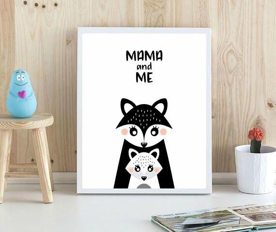 Mama and Me / Mother Fox Print / Fox Girl Print / Mom Nursery Print / Scandinavian Nursery Print / Mother and Girl Print / Hug Nursery Print