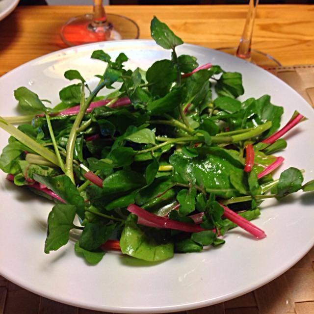 サラダ油は万病の元! DE-OILブログをご覧下さい。 http://deoil.blog.fc2.com/ - 2件のもぐもぐ - クレソンサラダ  グレープフルーツドレッシング by deoil518