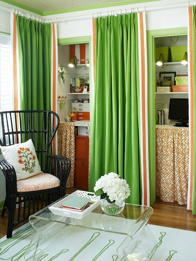 Pantry or Narrow Closet, turned Curtained Office.  Some great ideas for space saving in studio apartments.