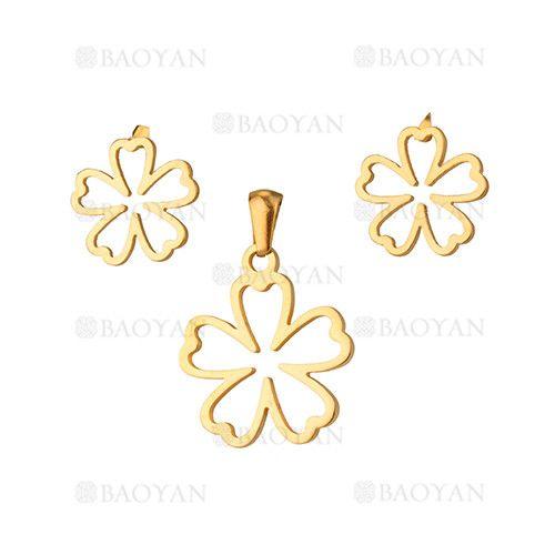 juego dije y aretes de flores dorado acero inoxidable -SSSTG1033866