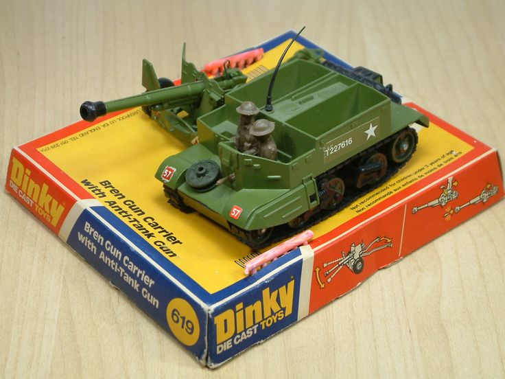 Dinky Toy Bren Gun Carrier with Anti-Tank Gun. Featured working 'spring action' gun with small plastic shells. This diecast model was produced between 1976 and 1977.