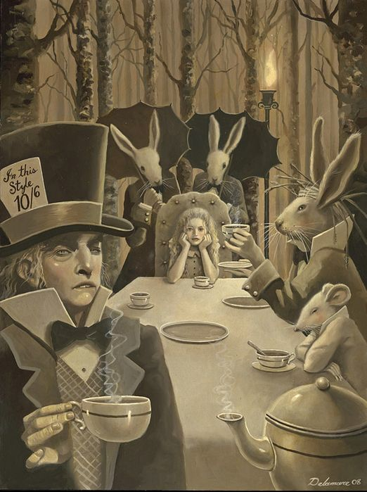 This picture is how I want the tea party scene to be. Very haunting and creepy to look at, it almost looks as if they are going to hurt Alice. Which is exactly what I want the audience to get when looking at this scene.