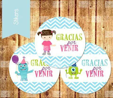 Stickers como ID del cumpleaños con tema de Boo de Monsters Inc