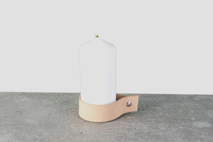 Ljushållare via Berghammar. Click on the image to see more! -Ljushållare för blockljus i läder-