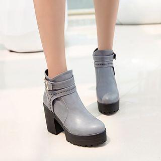 Women s Lady Side Zip Buckle Block Casual Ankle Boot Warm Shoes Plus Size 38da8e219c
