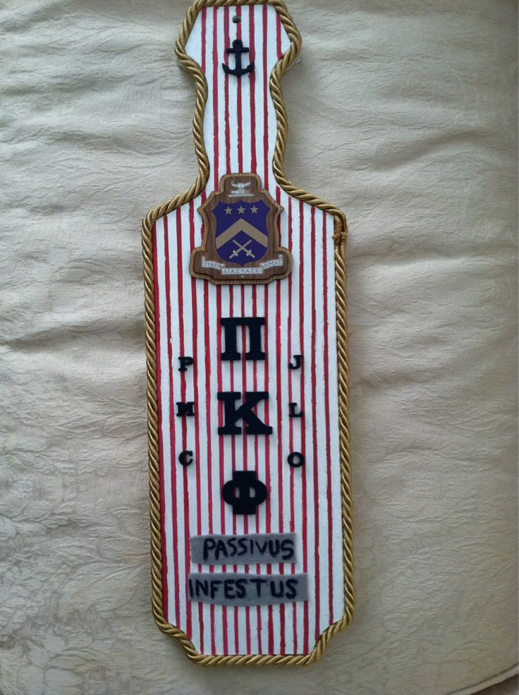 Fraternity paddle- like the lining and the vertical stripes/layout