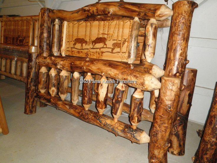 Aspen Log Buck Bed Old Farm Amish Furniture   Dayton, PA (814) 257
