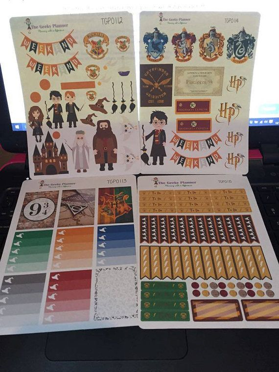 4 pages of ECLP Planner Stickers Wizard Potter inspired UK seller Happy Planner Filofax gloss or matte