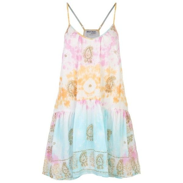 Juliet Dunn Sequined Tie Dye Dress (22.590 RUB) ❤ liked on Polyvore featuring dresses, print dress, embroidered dress, tye dye dress, beach dress and tie dye dress