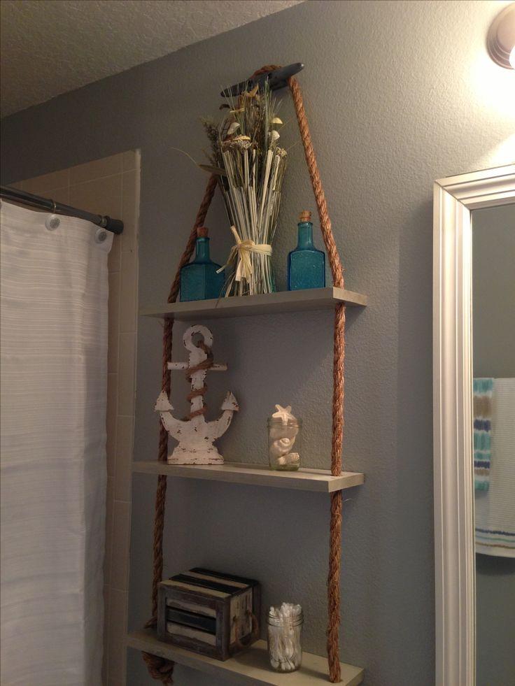 Diy nautical shelf cabana ideas pinterest shelves for Nautical rope decorating ideas
