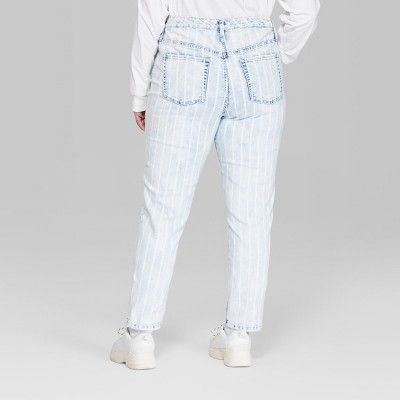 595599a30d92 Women s Plus Size Striped High-Rise Bleached Railroad Mom Jeans - Wild  Fable Blue 22W