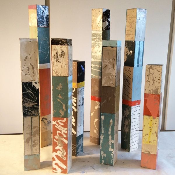 Adele Sypesteyn- Columns, mixed-media on wood