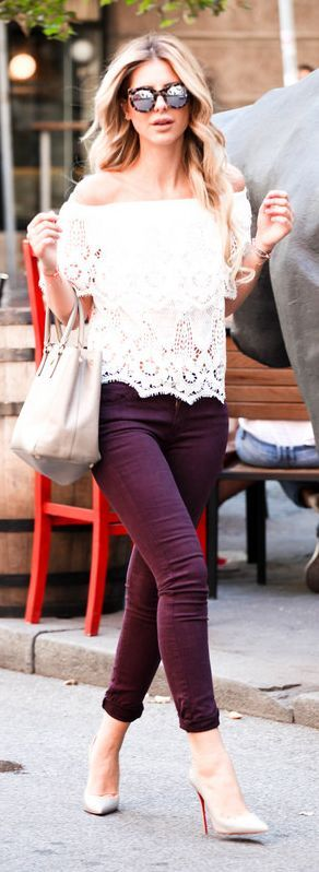 I love these jeans. This is such a great color and i want more of it in my wardrobe! Looks cute with this lacy top too!