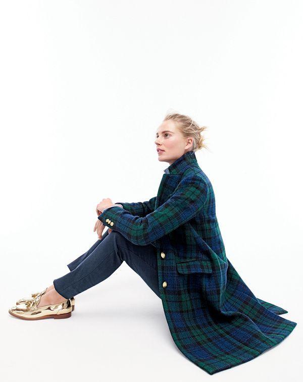 DEC '15 Style Guide: J.Crew women's Regent topcoat in Black Watch flannel and Biella mirror metallic loafers.