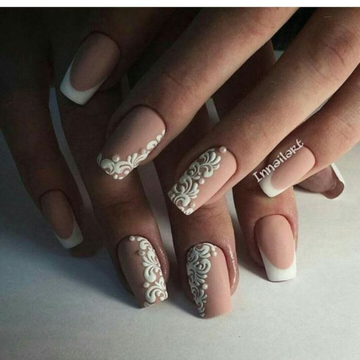 Beautiful wedding nails, Bridal nails, Wedding French manicure, Wedding nails 2016, Wedding nails ideas